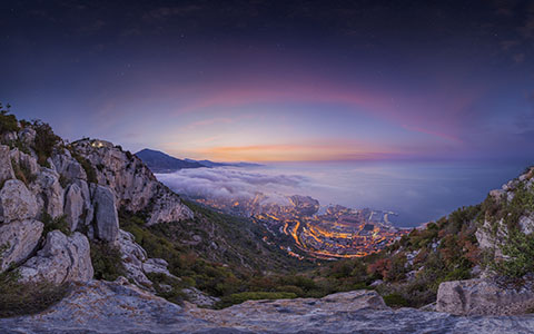 High-resolution desktop wallpaper Monaco Fog Summer Sunrise 2015 by Crevisio
