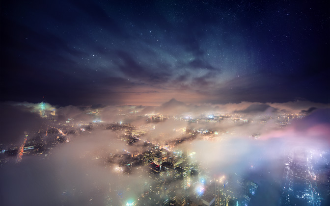 High-resolution desktop wallpaper Nebula City by Dominic Kamp