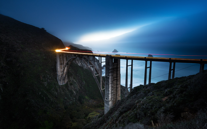 High-resolution desktop wallpaper Bixby Bridge - Hazy Dusk by Lowe Rehnberg