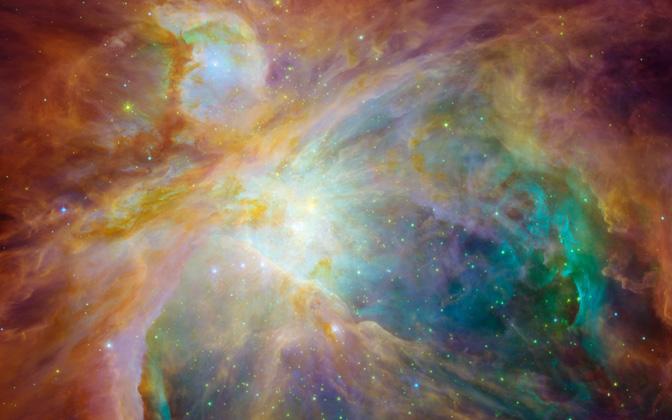 High-resolution desktop wallpaper Colorful Masterpiece by NASA, ESA, T. Megeath (University of Toledo) and M. Robberto (STScI)
