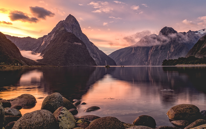 High-resolution desktop wallpaper Milford Sound Sunset by dtreichler