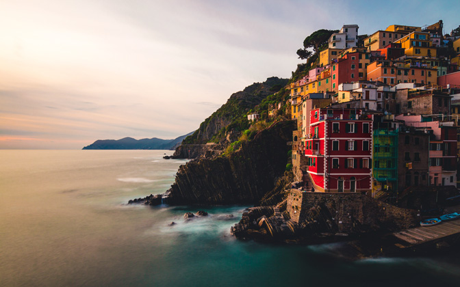 High-resolution desktop wallpaper Riomaggiore at Sunset by MatteoRipamonti