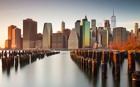 High-resolution desktop wallpaper NYC Skyline Sunset by davidvash