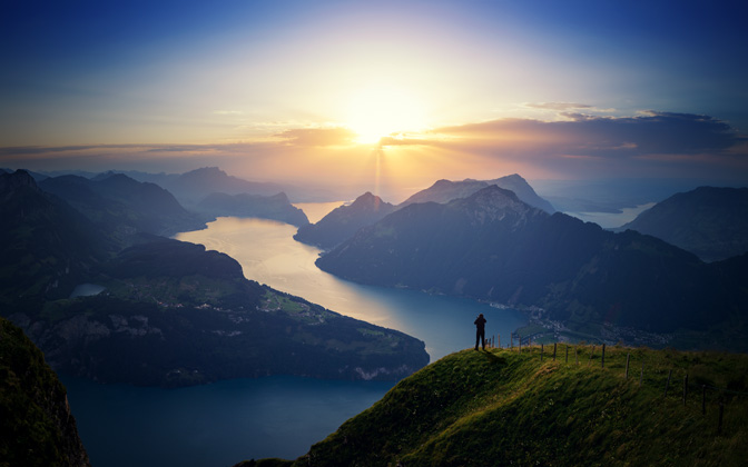 High-resolution desktop wallpaper The Overlook of Lake Lucern by Dominic Kamp