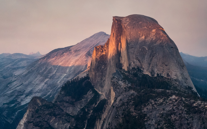 High-resolution desktop wallpaper Half Dome August Sunset by bakn